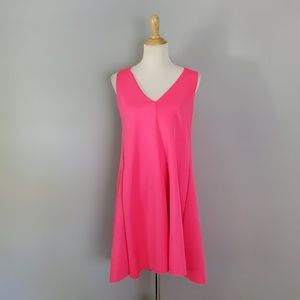 Adelyn Rae Hot Pink Pleat Back Scuba Trapeze Dress
